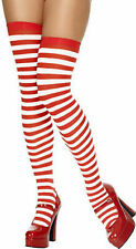 Red & White Stripe Candy Cane Elf Christmas Fancy Dress Socks Tights Stockings