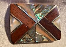 mother of pearl, & wood Vintage Belt Buckle, inlaid w abalone,