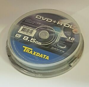 Traxdata DVD+R Blank DVDs - 8.5GB -Dual Layer- 8x Speed - 10 Disc Spindle