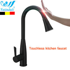 Black Motion Sensor Kitchen Faucet with Pull Down Sprayer Mixer Tap