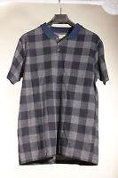 New Mens Short Sleeve Polo Shirt Black & Grey Check T shirt Size M River Island