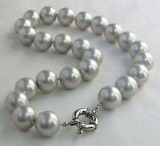 "10MM GENUINE SILVER GRAY SOUTH SEA SHELL PEARL ROUND GEMSTONE NECKLACE 20"" AAA+"