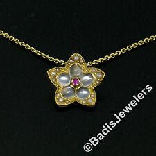 "Vintage 18K Yellow Gold Ruby Blue Moonstone Pearl Flower Pendant & 20"" 14K Chain"