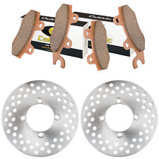 Front Left Right Brake Disc Rotor Pads for Yamaha Rhino 660 YXR660 4X4 2004-07