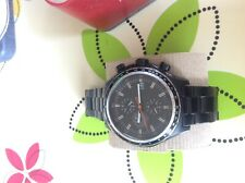 Collectors Fossil ceramic all stainless steel watch chrono 10 ATM