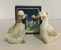 Porcelain Geese Christmas Tree Ornaments Set of Two Made in Taiwan Item 7100