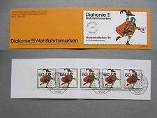GERMANY BERLIN, booklet Diakonie CTO FDC 1989, postmen