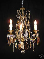 Chandelier  bronze & crystal FRENCH circ.1920 Restored by European Lighting