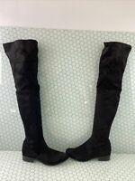 ALDO Black Suede Round Toe Side Zip Over The Knee Boots Women's Size 8