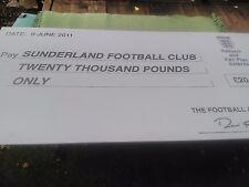 SUNDERLAND FOOTBALL CLUB - PUBLICITY PRESENTATION CHEQUE - UNIQUE!!