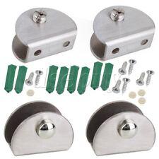 4pcs Stainless Steel Half Round Glass Clamp Glass Clip Shelf Bracket Silver