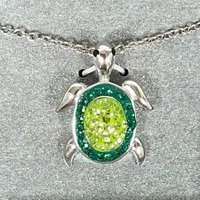 Crystal Sea Turtle Necklace 18 inch Fine Silver Plated Green Crystals Pendant