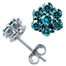 0.50 CT Fancy Blue Diamond Cluster Lady's Stud Earrings 14K White Gold 14 Stones