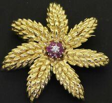 Tiffany & Co. heavy 18K gold Italy .40CTW VS diamond/ruby cluster flower brooch