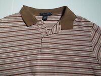 Daniel Cremieux Polo Shirt Long Sleeve Size XL Striped Brown Pink White Men's