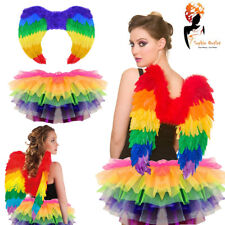 Rainbow Tutu Costume Feather Fancy Dress Outfit Bird Fairy Party Book Day Week