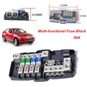 Car Audio Boats RV ANL Fuse Holder Distribution 0/4ga 4 Way Fuses Box Block 50A