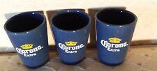 Corona Extra Shot Glasses SET OF 3 BOXED CERAMIC SHOOTERS Pub Tavern Bar  NEW!