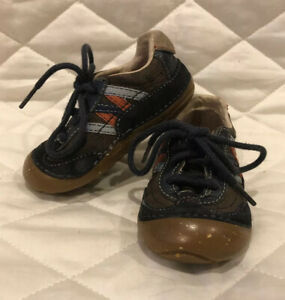 Stride Rite Navy Blue Orange Brown Toddler Boy Leather Shoes - SIZE 5W