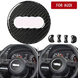 93mm Carbon Fiber Interior Steering Wheel Logo Trim For Audi A3/A4L/A6L/Q3/Q5/Q7