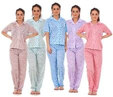 Ladies Revere Collar Pyjama Sets Floral Printed Short Sleeve Nightwear Soft PJ's