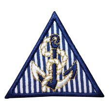 ID 1969 Anchor Decor Triangle Nautical Badge Embroidered Iron On Applique Patch