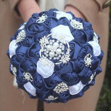 Handmade Wedding Bridal Bouquet Satin Rose Clear Crystal Brooch Rhinestone Navy