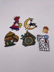 Lot Of  5 Vintage Stained-Glass Window Suncatchers  Frog Clock