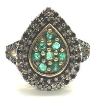 Sterling Silver 925 Black - Clear Diamond Green Emerald Pear Shape Cocktail Ring