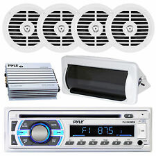 New  PLCD35MR Marine Boat Yacht USB CD Radio Stereo + 4 Speakers 400W Amp /Cover