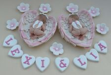 Edible twin baby angels in angel wings personalised Christening cake topper pink