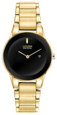 Citizen Eco Drive Women's Axiom Black Dial Gold-Tone 30mm Watch GA1052-55E