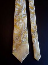 "SEAN JOHN - GOLD/TAUPE/WHITE PAISLEY - SILK NECK TIE - 57""LONG 3 1/2""WIDE"