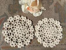 Pair Chic Beige Cotton Flower Hand Crochet Lace Doily 12cm