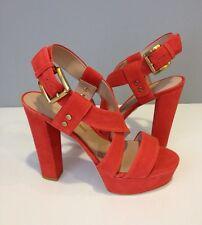 NIB Pour La Victoire Nealla Coral Nubuck Leather Platform Heel Sandal Shoe SZ 6