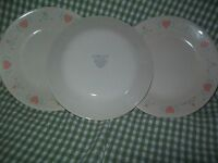"""3 FOREVER YOURS HEART SAUCERS BY CORELLE 6 3/4"""" PINK HEARTS AND TULIPS VERY NICE"""