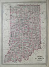 Original 1871 Johnson Antique Hand Colored Map INDIANA Wagon Roads Wabash Canal