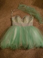 Lime Green Jeweled Prom Dress