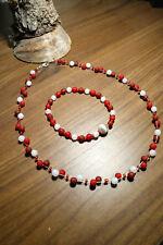 Neu unikat Schmuckset rot weiss Halskette Collier Polaris perlen kette Armband