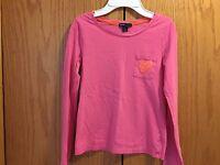 Girls Gap Pink Heart Long Sleeve Shirt Size L 10