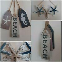 Beach Wall Hanging Decor 3 Piece Painted Wooden Tags & Starfish Decor Handmade