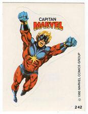 1980 Spanish Marvel Comics Superhero Terrabusi Trade Sticker #242 Captain Marvel