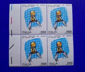 🔵 4 FRANCOBOLLI QUARTINA 1982 ITALIA CAMPIONE DEL MONDO LIRE 1000 DINO ZOFF 🤣