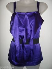 Guess By Marciano S Silk Top Royal Purple Ruffle Tiered Party Club Sexy CHIC