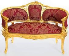 BAROCK SOFA rot-gold, NEU BAROCKSTIL SITZBANK 'FRENCH LOVE SEAT' LUXUS SITZCOUCH