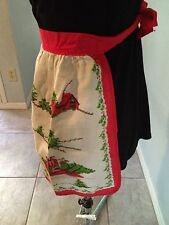 CHRISTMAS VINTAGE LOOK HOMEMADE APRON/ CAROLERS THEME /LINEN BLEND/BRIGHT COLORS