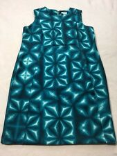 Calvin Klein Womens 22W Turquoise Aqua Watercolor Geometric Tye Dye Dress