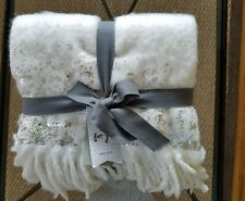 West Elm cozy texture metallic Throw Ivory 50x70