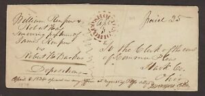 Ohio: Coshocton 1834 Stampless Cover, Fancy Brown Stencil-Like  Town Strike