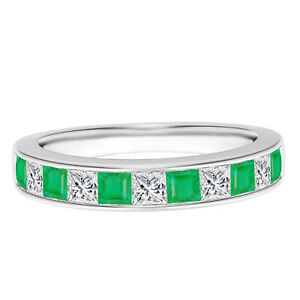 Half Eternity Band! Channel Square Emerald Stackable Ring 925 Silver